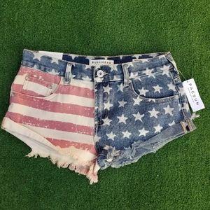 Bullhead Pacsun American flag Denim shorts